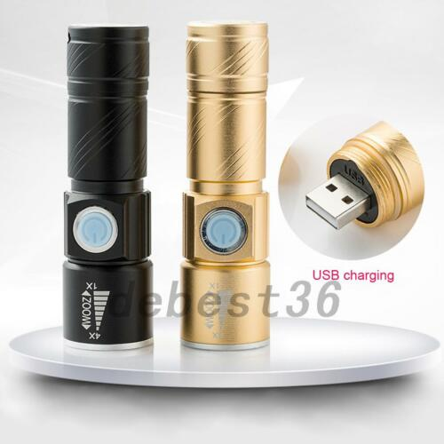 Rechargeable USB Ultra Bright LED Torch Lamp Flashlight Camping Hiking Night