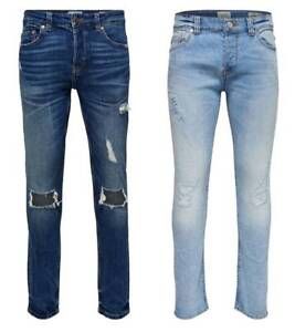 Only /& Sons Mens Med Blue Slim fit Ripped Jeans Stretch Straight Leg Size 28-36
