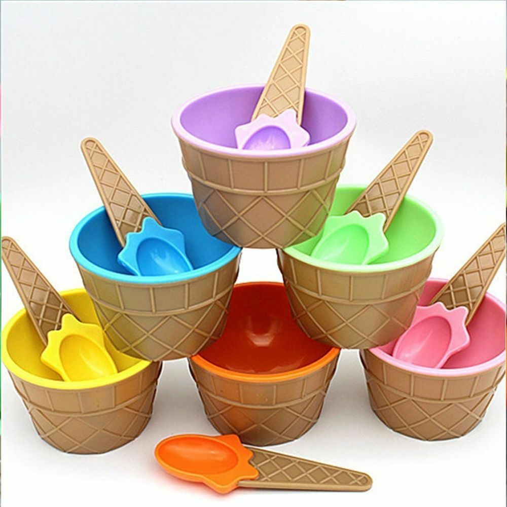 Cream Scoops Ice Cream Cup Ice Cream Bowls Dessert Container Holder With Spoon