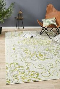 METRO-609-GREEN-Rug-Grey-Modern-Large-Floor-Mat-Carpet-FREE-DELIVERY