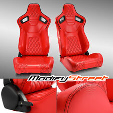 2xreclinable All Red Pvc Leather Rear Carbon Fiber Leftright Sport Racing Seats Fits Toyota Celica
