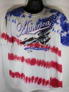 Gildan-XL-America-Bald-Eagle-Red-White-Blue-Tie-Dye-Cotton-SHort-Sleeve-T-Shirt