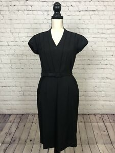 Banana-Republic-Black-Pleated-Front-Black-Dress-Size-4