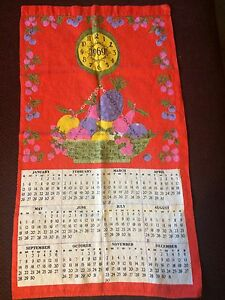 Calendar 1969.Details About Vintage Linen Towel Calendar 1969 Fruit Scale Red