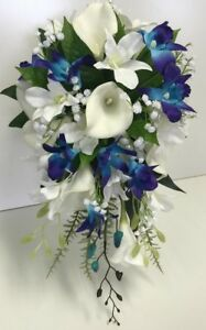 SILK WEDDING BOUQUET LATEX WHITE CALLA LILY BLUE ORCHID GYP ORCHIDS ...
