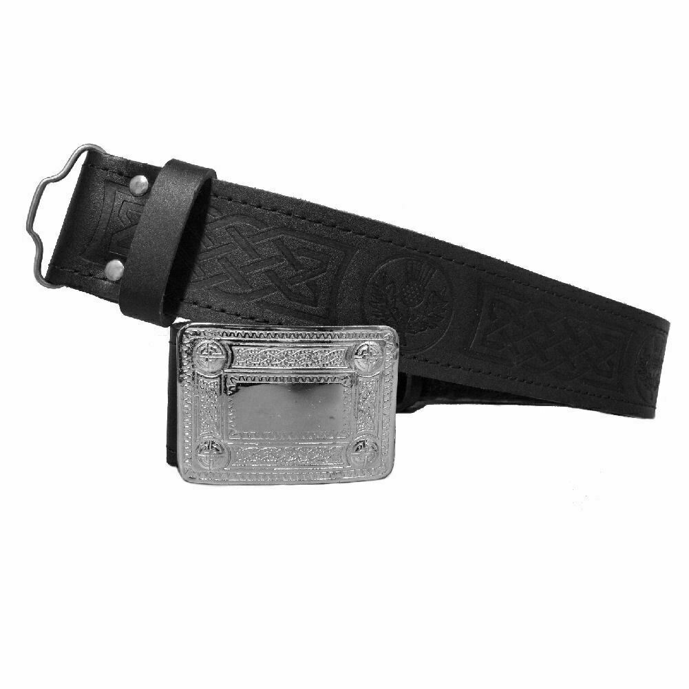 Mens Scottish Thistle Embossed Leather Kilt Belt & Buckle - S - 2XL