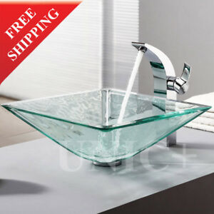 Wonderful Image Is Loading Extra Thickness Bathroom Square Glass Vessel Sink Bathroom