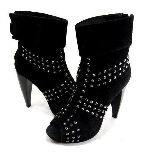 POUR LA VICTOIRE WOMENS PANTHEA PEEP-TOE STUDDED ANKLE BOOT BLACK SUEDE SIZE 7.5
