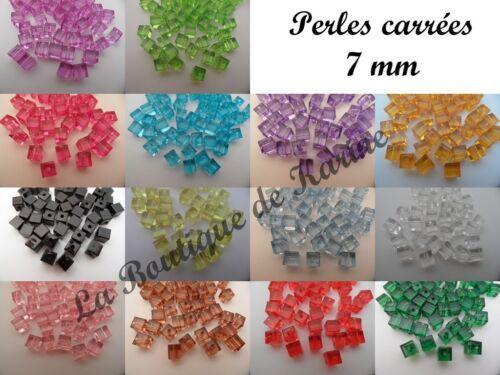 LOT DE 30 PERLES CARREES CUBE 7 mm COULEURS AU CHOIX CREATION BIJOUX