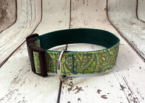 Dog-Collar-Paisley-Print-Greens-phrase-Unique-Funky-Pet-Supply-Gift-Christmas