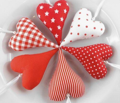 Tilda Tissu coeurs en rouge//blanc dekoherzen cousu de décoration