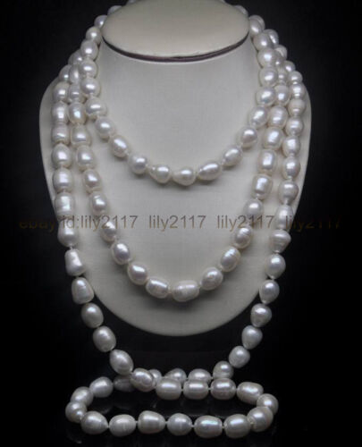environ 127.00 cm 9-11 mm Genuine South Sea Baroque Blanc Perles Collier AAA 50 in
