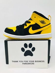 reputable site 29e11 694c9 Details about Nike Air Jordan 1 Mid 'New Love' Black Yellow 640735-035 TD  Size 6C
