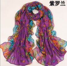 Purple Women's Long Fashion Soft Cotton blend Shawl Flower Wraps Scarf Scarves