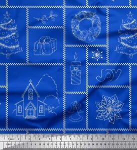 Soimoi Fabric Christmas Theme Party Print Fabric by Meter PY-2J