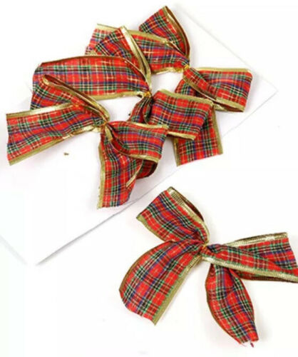 4 Pack 12cm  Red And Gold Tartan Bows Christmas Tree Decoration