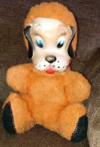 VTG-50s-rubber-face-plush-stuffed-animal-Dog-Orange-color-Rushton-Gund