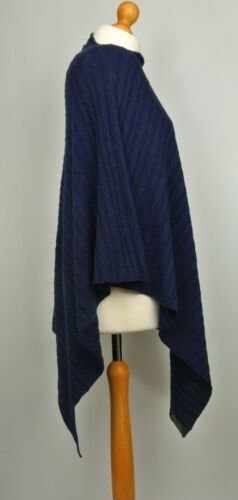 100/% Pure Cashmere Cable Knit Poncho In Rich Navy Blue Handcrafted In Nepal