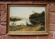 Fantástico original Pintura al óleo: Un idílico Lago en el Estribaciones.