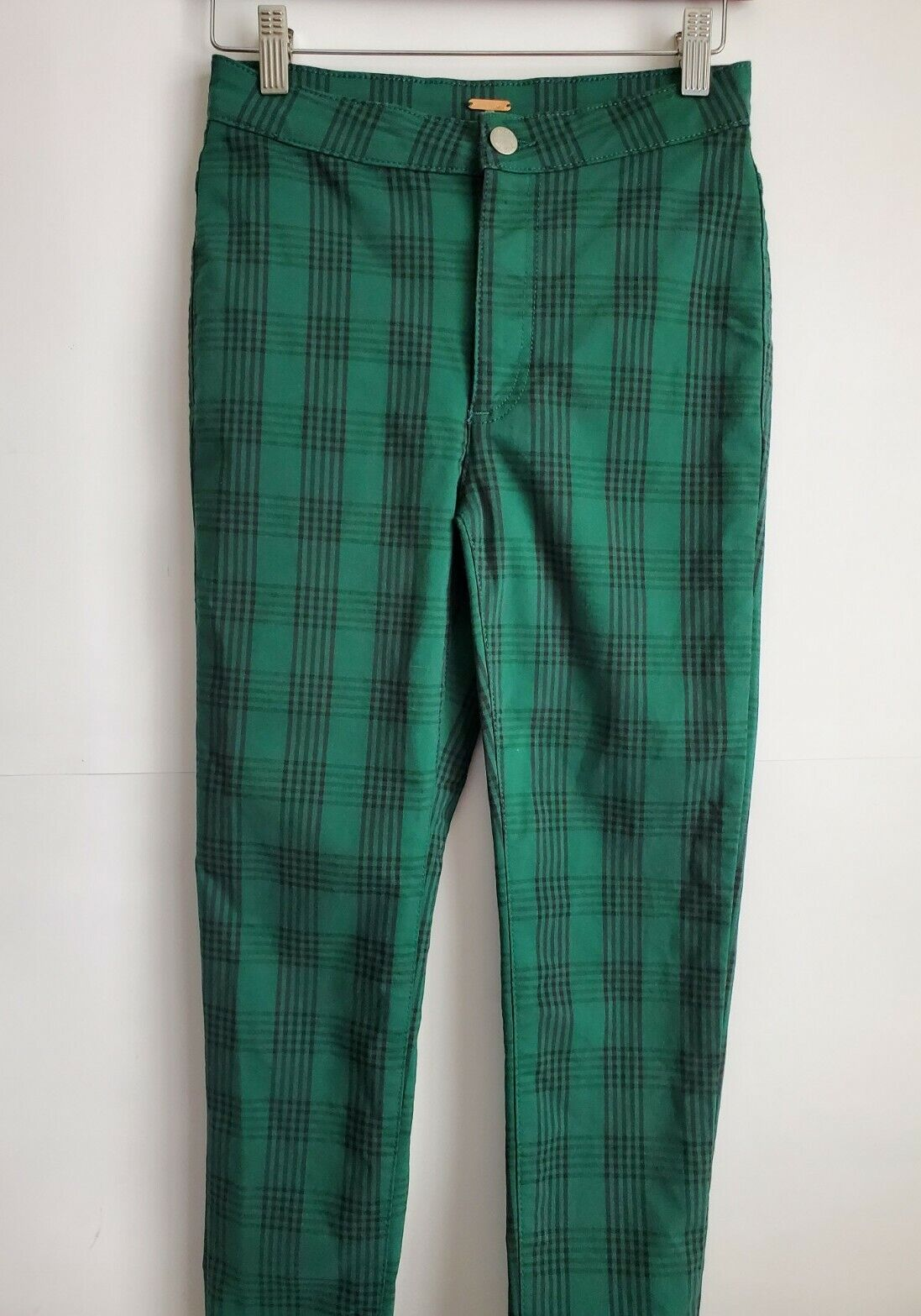 Free People  Women's Green Plaid Skinny Pants, Si… - image 1