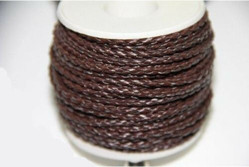 New 5//20M Pure Hand-Woven Braided Leather Cord Diy Jewelry Necklace//Bracelet 3mm