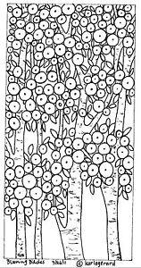 RUG-HOOK-Craft-PAPER-PATTERN-Blooming-Birches-FOLK-ART-PRIMITIVE-Karla-Gerard