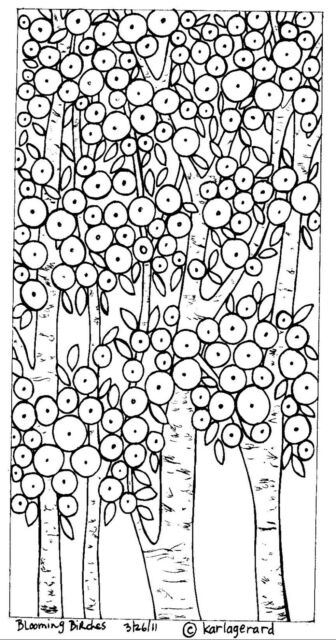 RUG HOOK Craft PAPER PATTERN Blooming Birches FOLK ART PRIMITIVE Karla Gerard