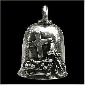 Jesus Rides With Me Cross Biker Motorcycle Gremlin Bell Pewter Made in the USA