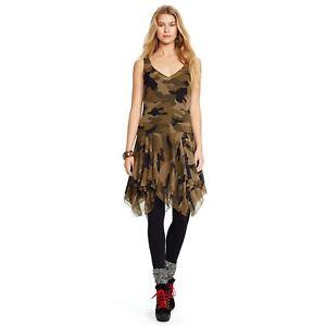 b623074c6653a Polo Ralph Lauren dress camo print silk flounced sleeveless NWT 0 ...