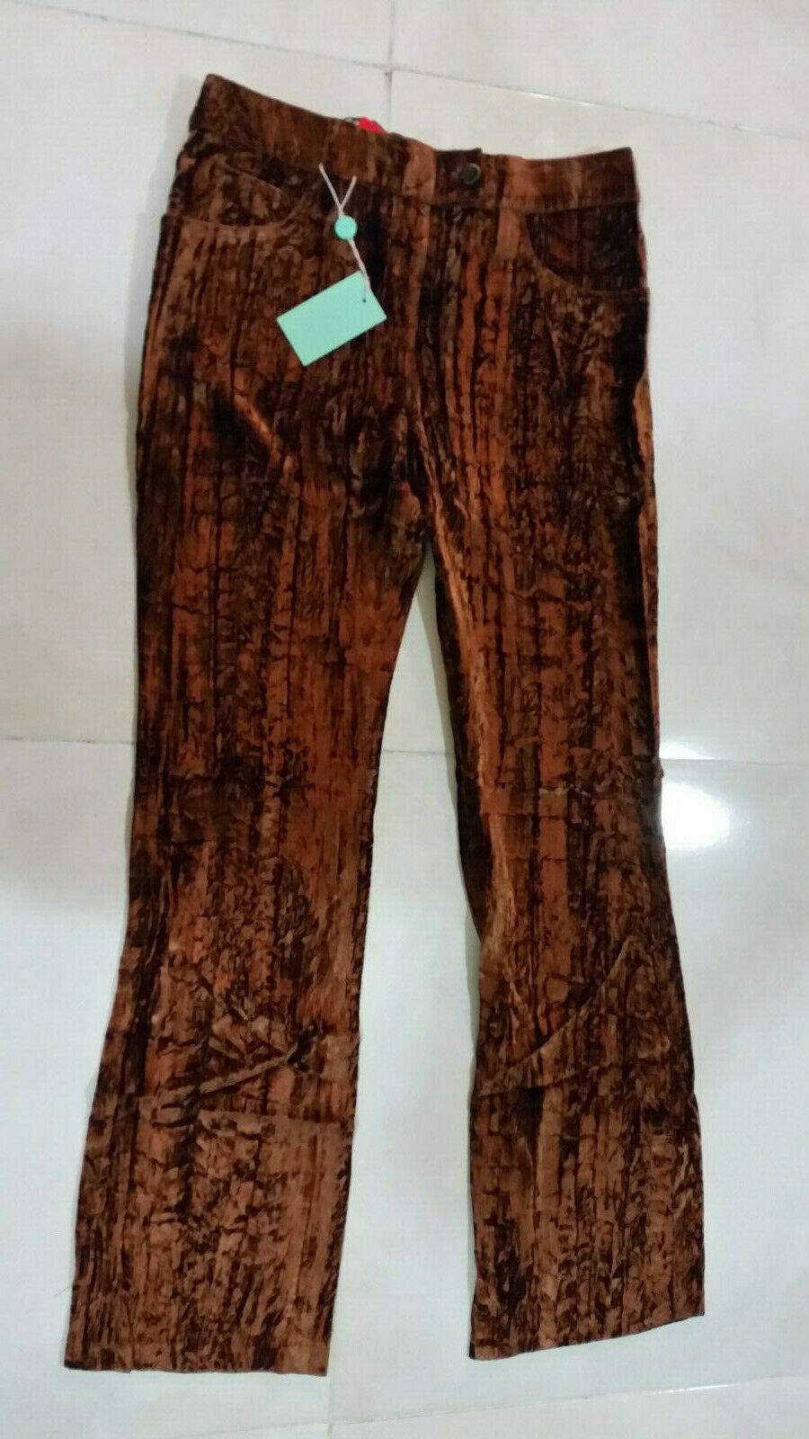 NEW  ELEONORA ITALY SENZA RICAMO WOMEN PANTS 100% POLYESTER COLOR BROWN SIZE 32
