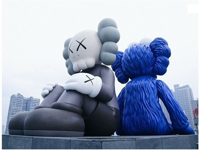 KAWS Ifs Sesame Street ORIGINALFAKE Street assis & regarder PVC Action Figure