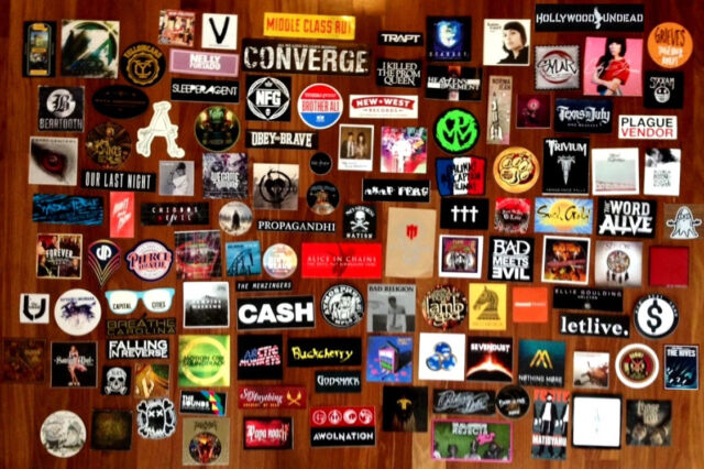 Choose any 15 new band stickers for just 25 rock punk metal indie hip