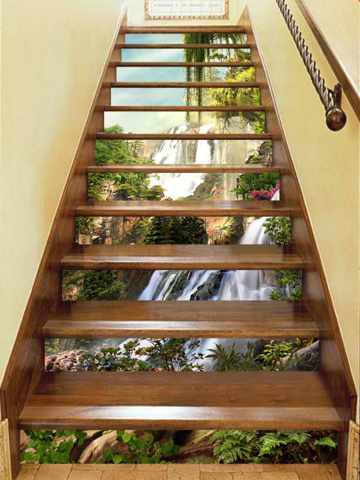 3D Wald Ansicht 179 Stair Risers Dekoration Fototapete Vinyl Aufkleber Tapete DE