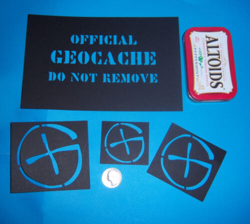 Geocaching Stencils x 16 for Decorating Geocache Containers machine cut