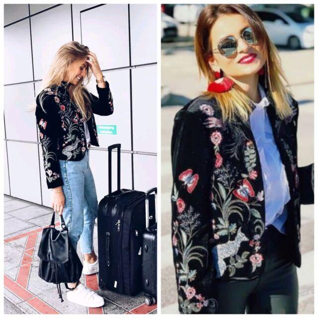 Zara Woman Floral Embroidered Black Velvet Jacket Cape Aw17 2903 ...