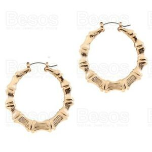 Large 6cm BAMBOO HOOP EARRINGS oversize creoles GOLD FASHION big circle hoops UK