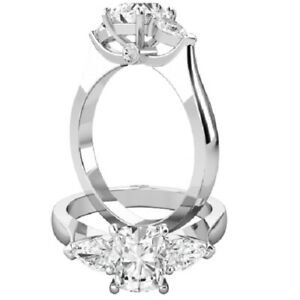 1.40 Ct Oval Moissanite Wedding Ring 14K Proposal Solid White Gold ring Size 5 6
