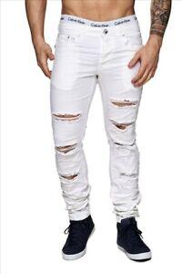 Hommes-detruit-Jeans-Denim-style-blanc-dechire-fissures-Slim-Fit-en-detresse