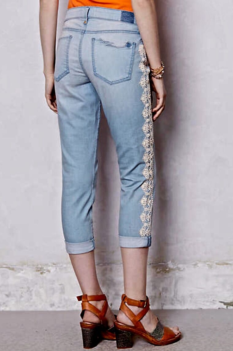 NEW Anthropologie Holding Horses Lace Trim Stretch Cropped Jeans 27