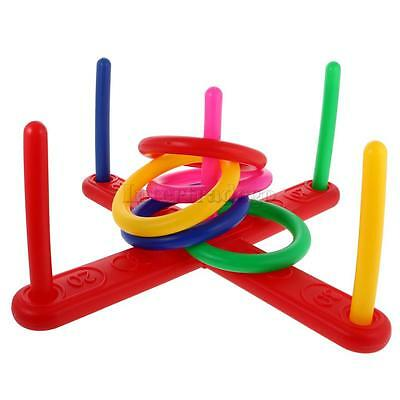 Plastic Ring Quoits Tossing Set Kids Garden Outdoor Game Playing Fun Toys