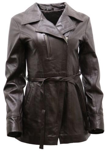 nappa cuir motard de femme ceinture pour brun en longue Veste avec XRPxUIq6wx
