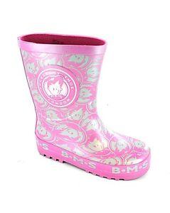 Childrens-Wellington-Boots-BMS-Girls-Waterproof-Wellies-Pink-Size-8-2