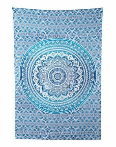 Image Is Loading Twin Size Blue Ombre Mandala Tapestry Bohemian Wall