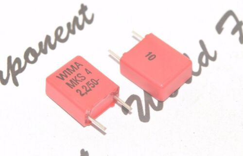 4pcs 50V 10/% pitch:7.5mm Polyester Capacitor 2,2µF WIMA MKS4 2.2uF