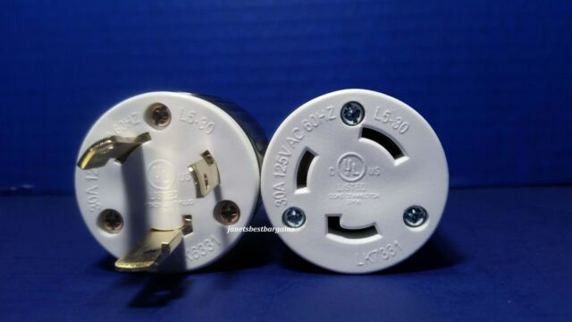 Replacement Flanged Inlet 30 Amp 125 Volt Male Twist Lock 3 Wire Nema L5-30P