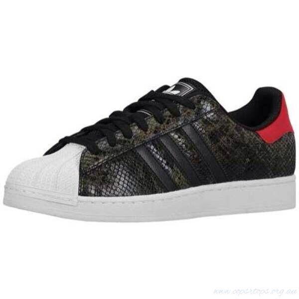 Adidas Superstar II 2  Snake Skin Men Shoes black/red/white size 10.5