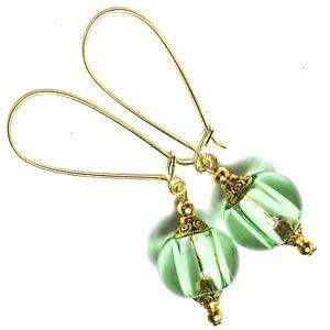 Large Ball Clip-On Earrings Vintage Gold Style Boho Drop Dangle Glass Globe Bead
