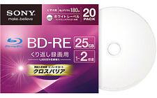 20 Sony Bluray Discs RW BD-RE 25GB Bluray DVD Discs 2X Speed Rewritable Bluray