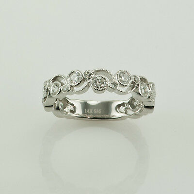 WEDDING & ANNIVERSARY RING 1.20 CT ROUND DIAMONDS IN 14K WHITE GOLD SIZE 7
