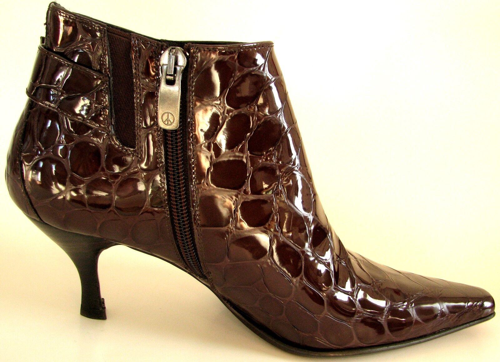 DONALD J J J PLINER LONI Taupe Croco Patent Buckle Mid Heel Ankle Stiefel 6 LOVE schuhe 90c5c7